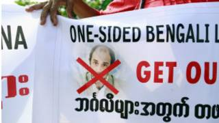 People in Rakhine State protest Mr Quintana