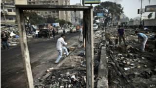 Cảnh hoang tàn sau bạo động tại Ai Cập
