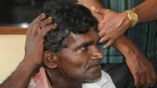An injured person in Weliweriya