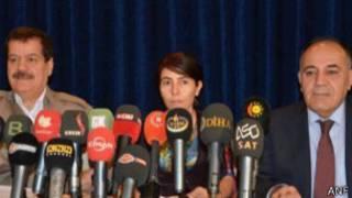 Kemal Kerküki, Ronahi Serhat, Saadi Pera basın toplantısında