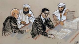 на рисунке изображен заключенный со своим адвокатом во время слушания