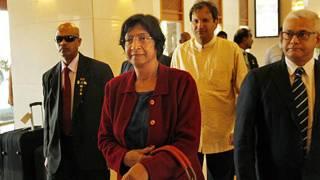 Navi Pillai arriving in Sri Lanka