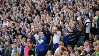 Hinchas durante el partido Everton vs Norwich City