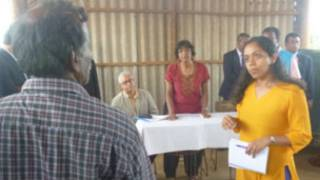 Navi Pillai meeting people in the north