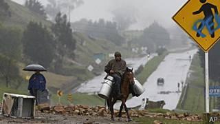 Campesino carga leche en Ventaquemada