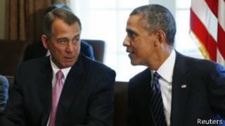 Барак Обама и спикер палаты представителей Джон Бейнер