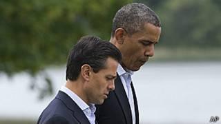 Presidentes Barack Obama de EE.UU. y Enrique Peña, de México