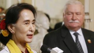 Poland's Former President Lech Walesa and Daw Aung San Suu Kyi