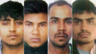 Delhi Police hand out photos of Vinay Sharma , Pawan Gupta, Mukesh Singh, Akshay Thakur convicted for the notorious December 2012 gang rape and murder of a female student on a bus in the Indian capital, Delhi.