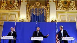 William Hague,Laurent Fabius na John Kerry
