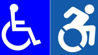 Símbolo tradicional e o novo, do grupo Accessible Icon Project
