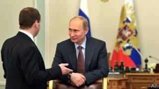 Владимир Путин и Дмитрий Медведев в Кремле