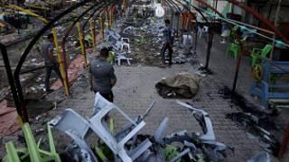Escombros de un ataque en un mercado en ciudad Sáder, Bagdad, el 22 de septiembre