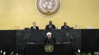 Hassan Rouhani discursa na ONU (foto: AP)