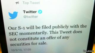 Сообщение Twitter об IPO