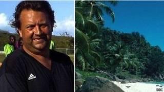Matthew Green e a praia em Turks e Caicos. Foto: BBC