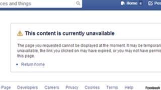 Предупреждение в Facebook