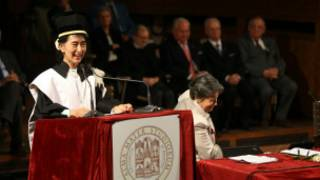 Daw Aung San Suu Kyi receives a degree of philosophy at the Bologna University on October 30, 2013 in Bologna. AFP PHOTO