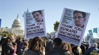 Ủng hộ viên Snowden biểu tình ở Mỹ