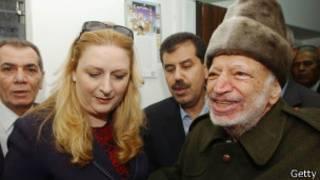 Арафат с женой перед полетом в Париж в 2004 г.