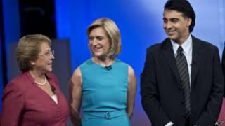 Michelle Bachelet, (à esq.), Evelyn Matthei e Marco Enríquez-Ominami | AFP