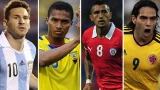 Lionel Messi, Antonio Valencia, Arturo Vida, and Radamel Falcao