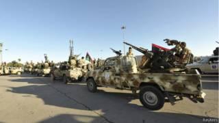 Демонстрация ополченцев в Триполи
