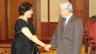 Tổng Bí thư Nguyễn Phú Trọng tiếp Đại sứ Ấn Độ Preeti Saran