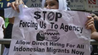 Migran Indonesia protes