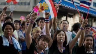 anti government demonstrators in thai capitol