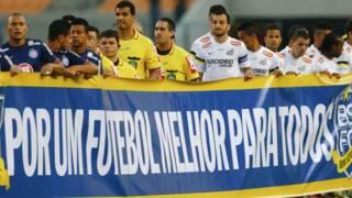 Protesto do Bom Senso FC no Brasil. Foto: AP