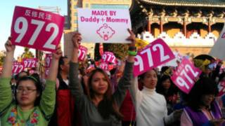 Protesta contra matrimonio gay en Taiwán