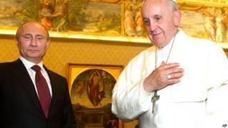 व्लादिमीर पुतिन पोप फ्रांसिस के साथ