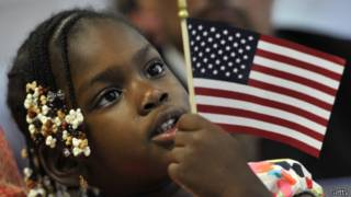 Девочка с флагом США