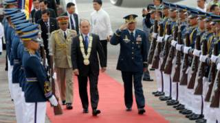 Burmese President U Thein Sein arrives at Philippines airport.