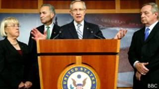 Senator patty Murray, Senator Charles Schumer, senate majority leader Harry Reid, Senator Dick Durbin holding press conference at US capitol.