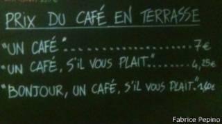 Lousa com o preço do café no Petite Syrah (Foto cedida por Fabrice Pepino)