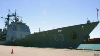 """美国导弹巡洋舰""""考彭斯号""""(资料照片)"""