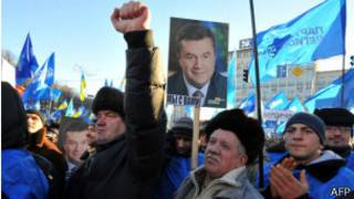 supporters of Ukraine president in a march heading to Independence Square