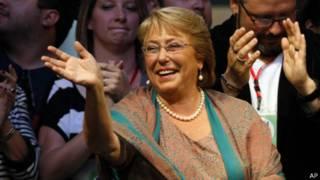 Мишель Бачелет на ралли после объявления итогов второго тура президентских выборов в Чили