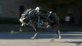 four-legged robot WildCat running in a car park