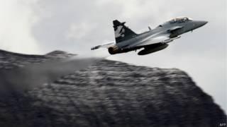 Caça da Saab. Foto: AFP