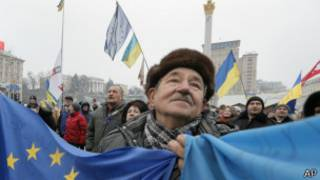 Manifestantes ucranianos pro Europa