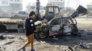 Последствия авиаудара в Алеппо