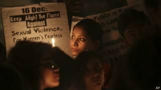 Демонстрация протеста против насилия над женщинами в Индии