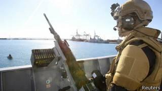 Норвежское военное судно в порту Лимасола