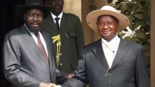 Shugaba Kiir da shugaba Museveni