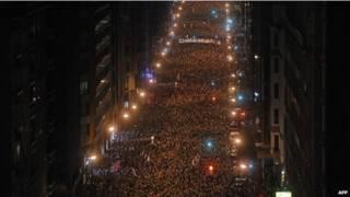 Марш в поддержку заключенных членов баскской сепаратистской организации ЭТА в Бильбао 11 января 2014 года