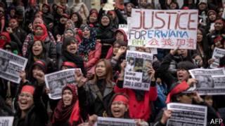 Marcha en Hong Kong reclamando justicia por la empleada de Indonesia
