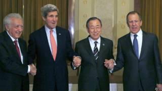 Лахдар Брахими, Джон Керри, Пан Ги Мун и Сергей Лавров перед началом мирной конференции по Сирии